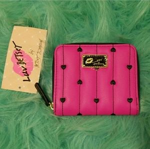 🆕️Betsey Johnson Coin Purse/Zip Wallet.Pink&Black